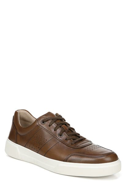 Vince Men's Barnett Perforated Leather Low-top Sneakers In Luggage