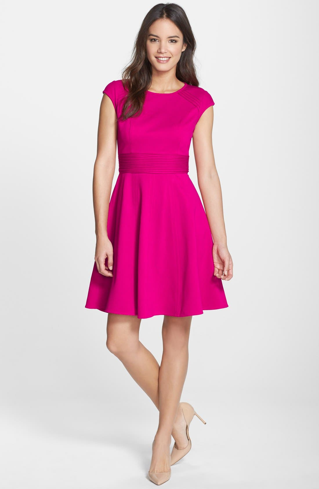 ,                             Pintucked Waist Seamed Ponte Knit Fit & Flare Dress,                             Alternate thumbnail 13, color,                             660