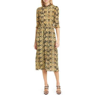 Ba & sh Cascade Snake Print Dress, Ivory
