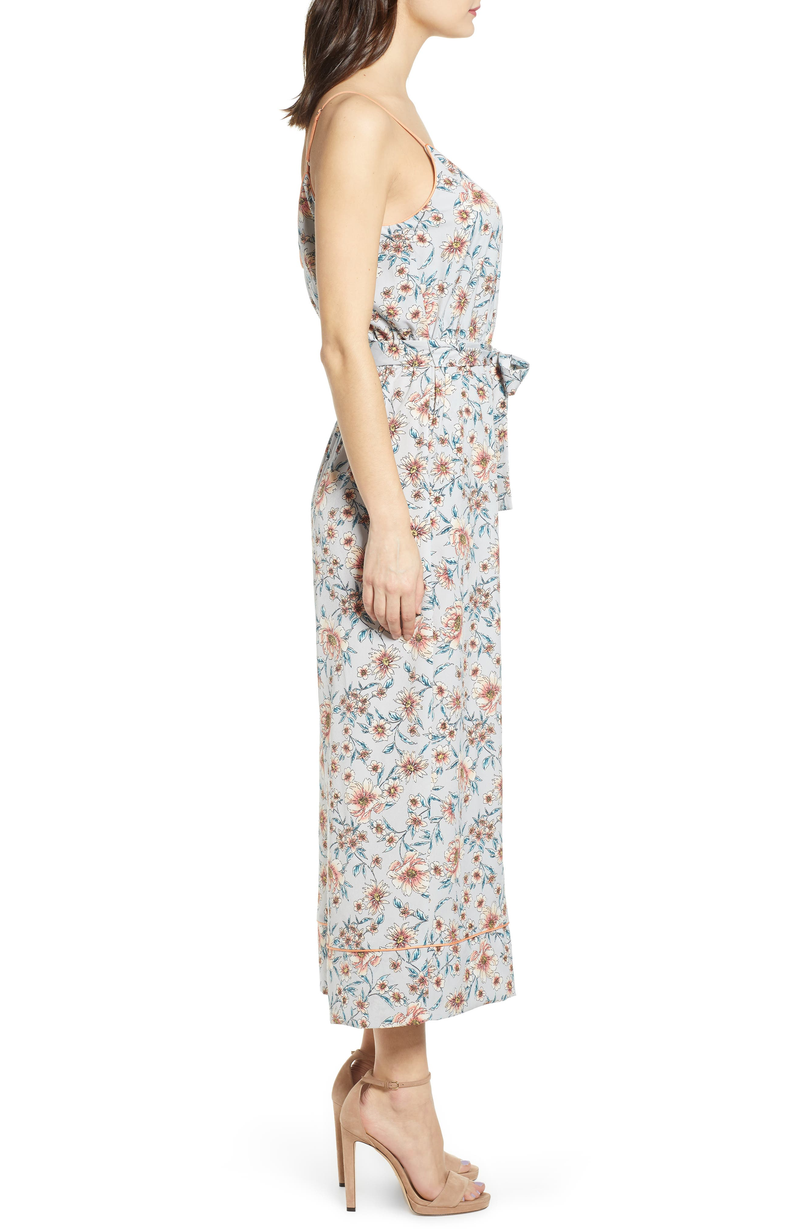 ,                             Piped Cami Jumpsuit,                             Alternate thumbnail 4, color,                             GREY KELSEY FLORAL
