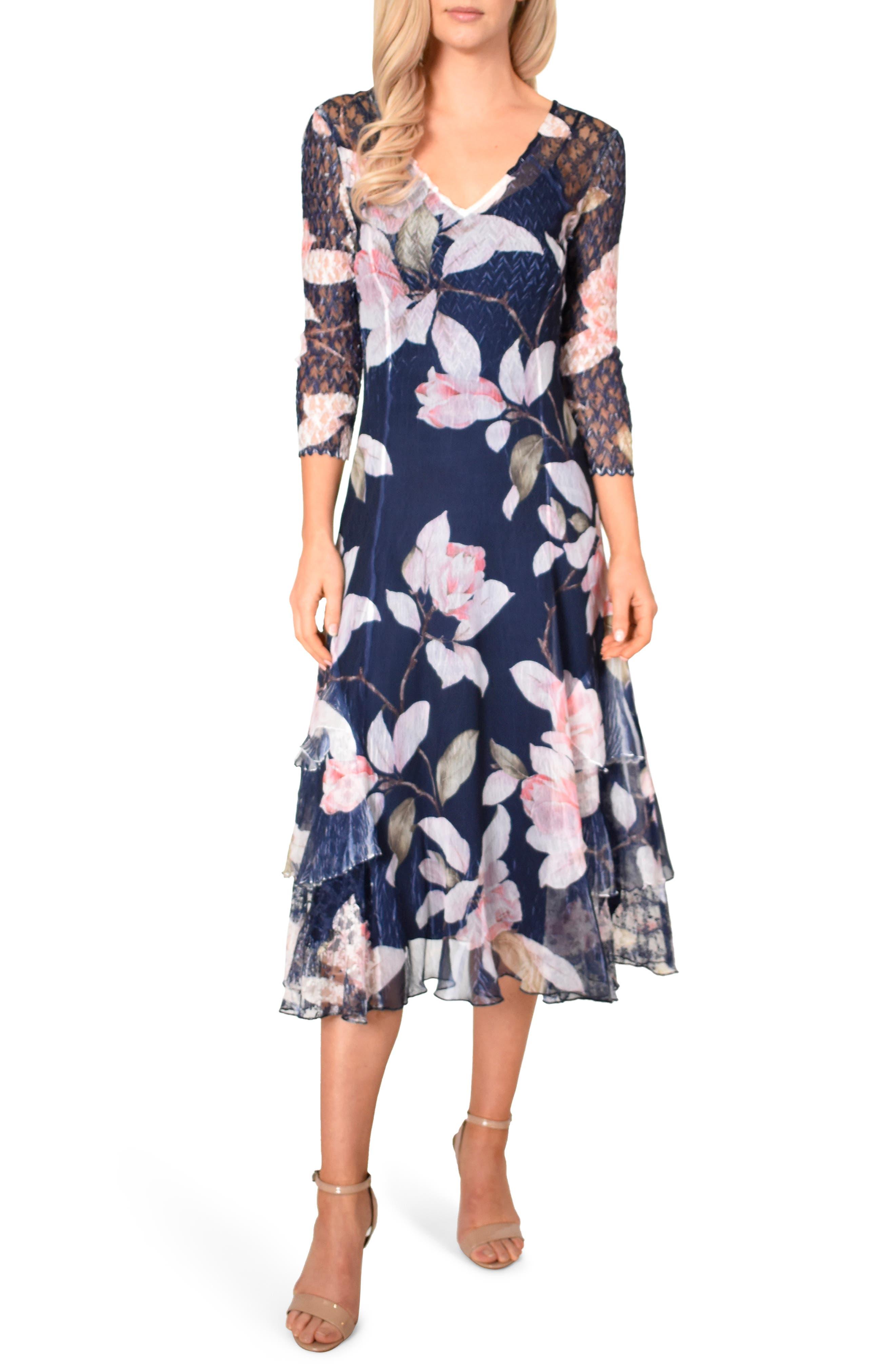 Komarov Floral Print Tiered Ruffle Chiffon Dress, Blue