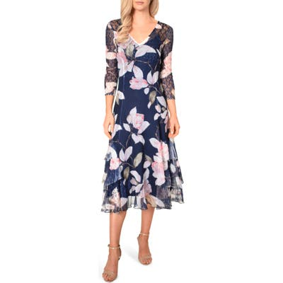 Komarov Floral Print Tiered Ruffle Chiffon Dress, Blue