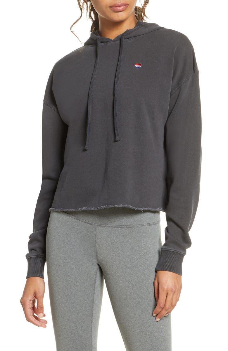 SPIRITUAL GANGSTER Love More Serena Hooded Sweatshirt, Main, color, VINTAGE BLACK