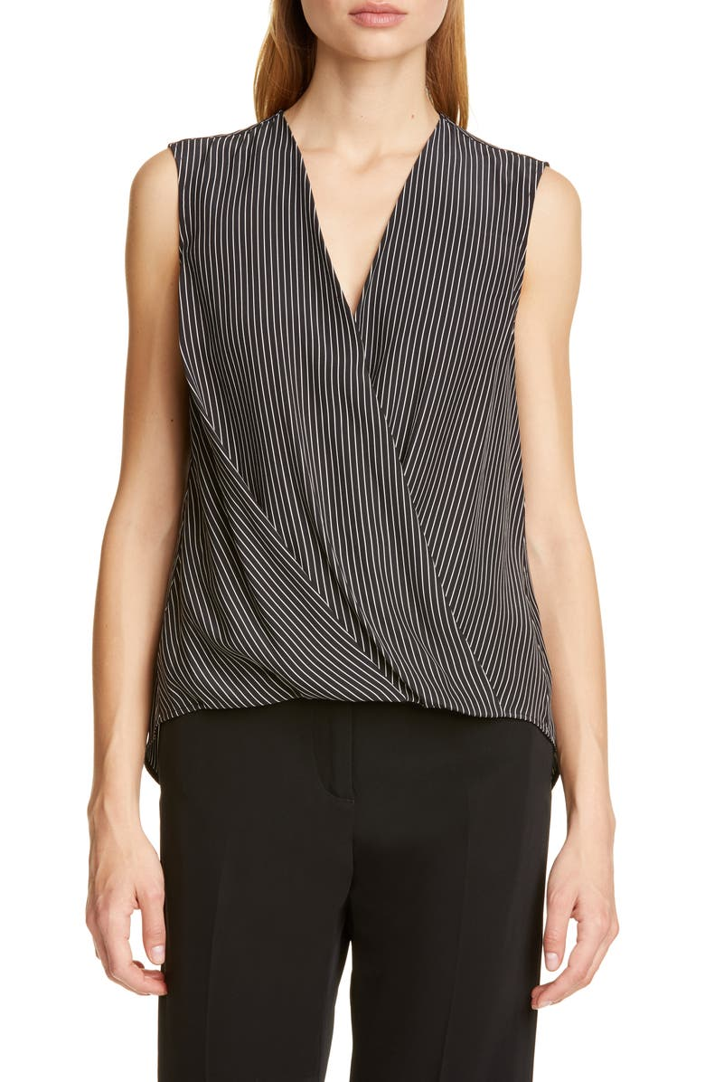 RAG & BONE Victor Sleeveless Silk Blouse, Main, color, BLACK WHITE STRIPE