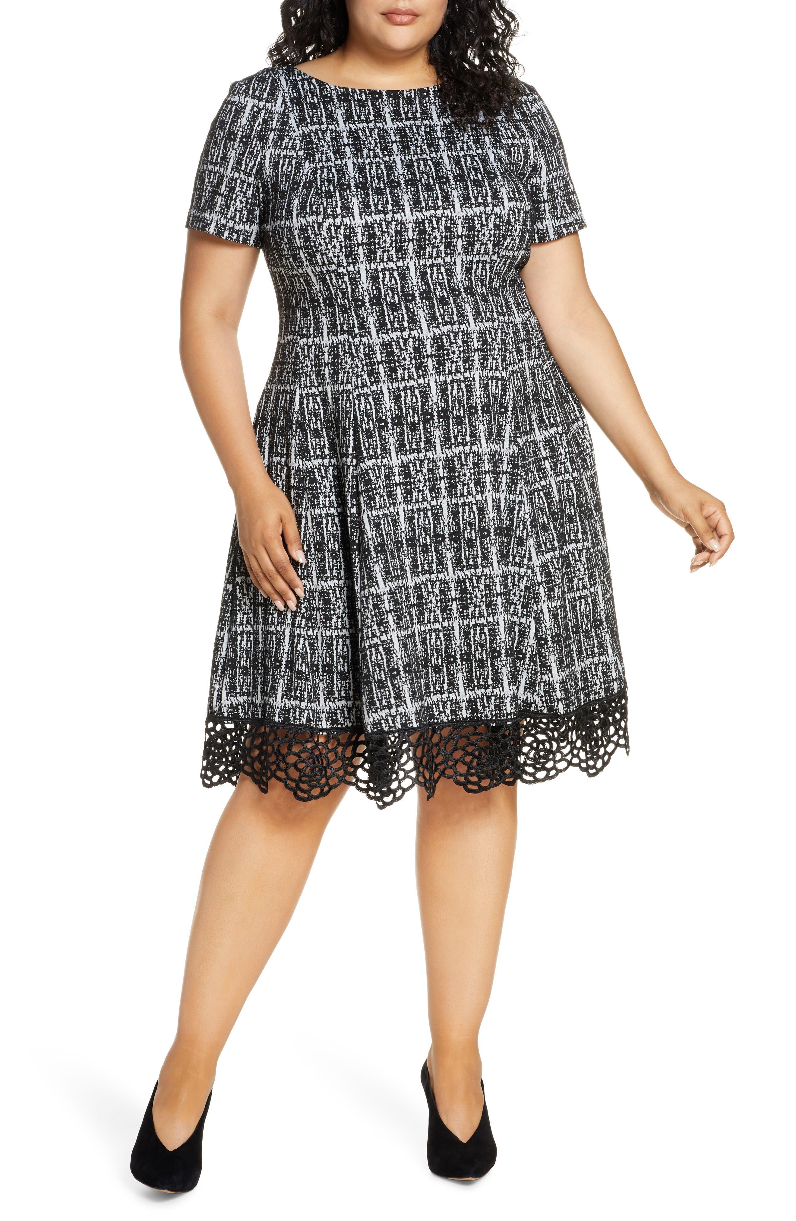 Image of Donna Ricco Plaid Lace Hem Dress