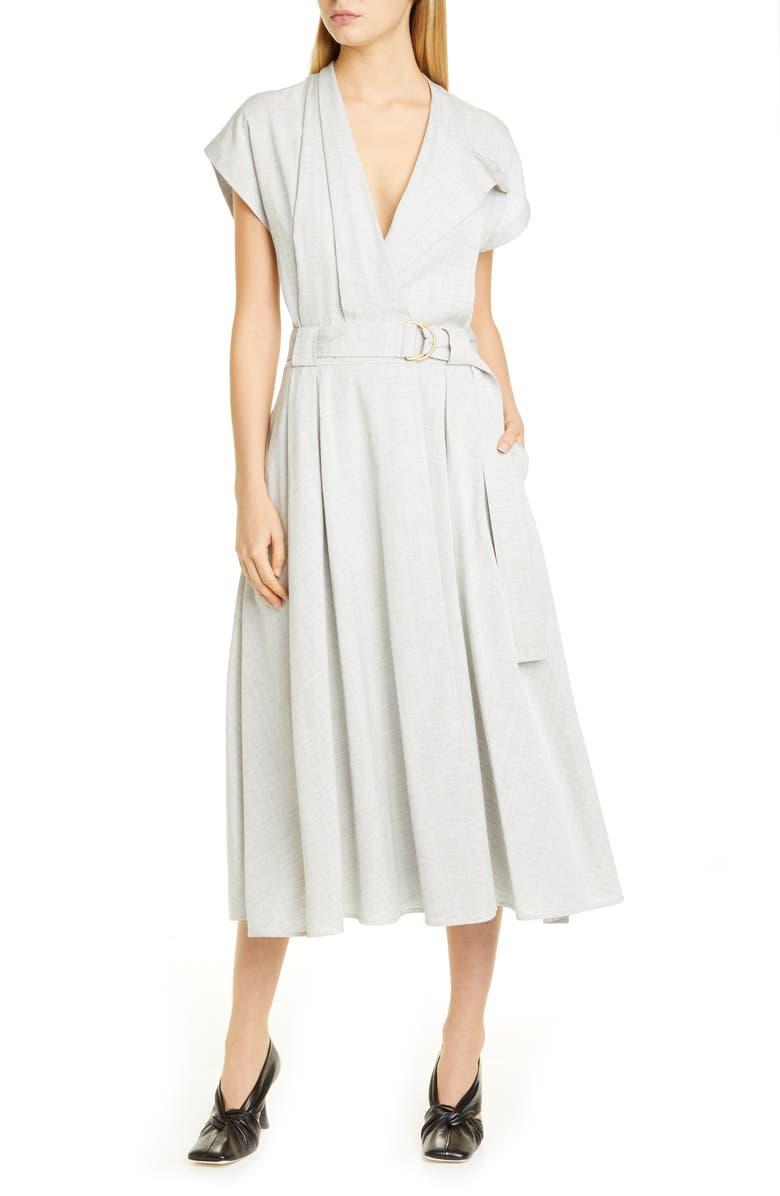 PROENZA SCHOULER Suiting Faux Wrap Midi Dress, Main, color, 050