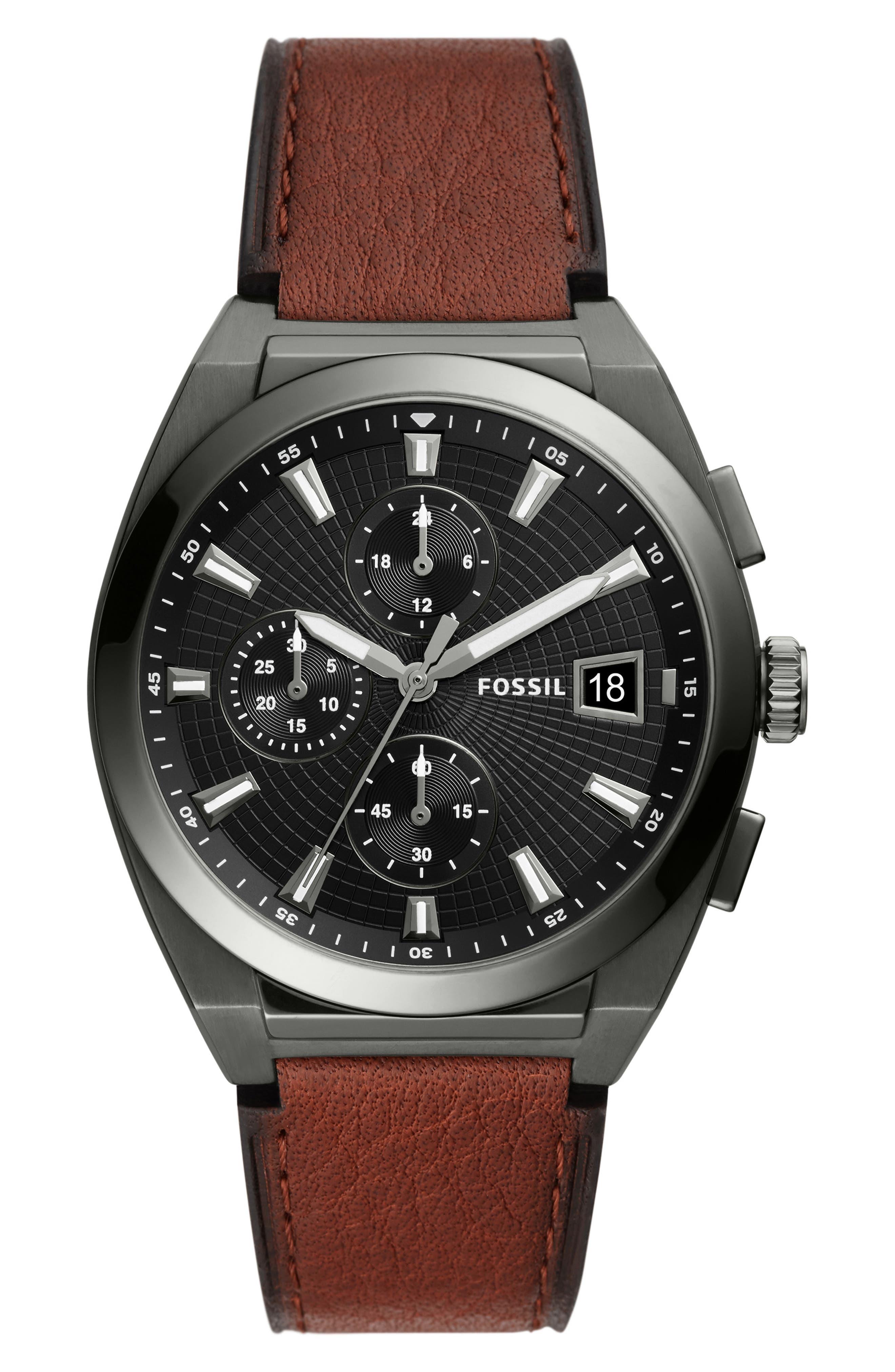 Everett Chronograph Leather Strap Watch