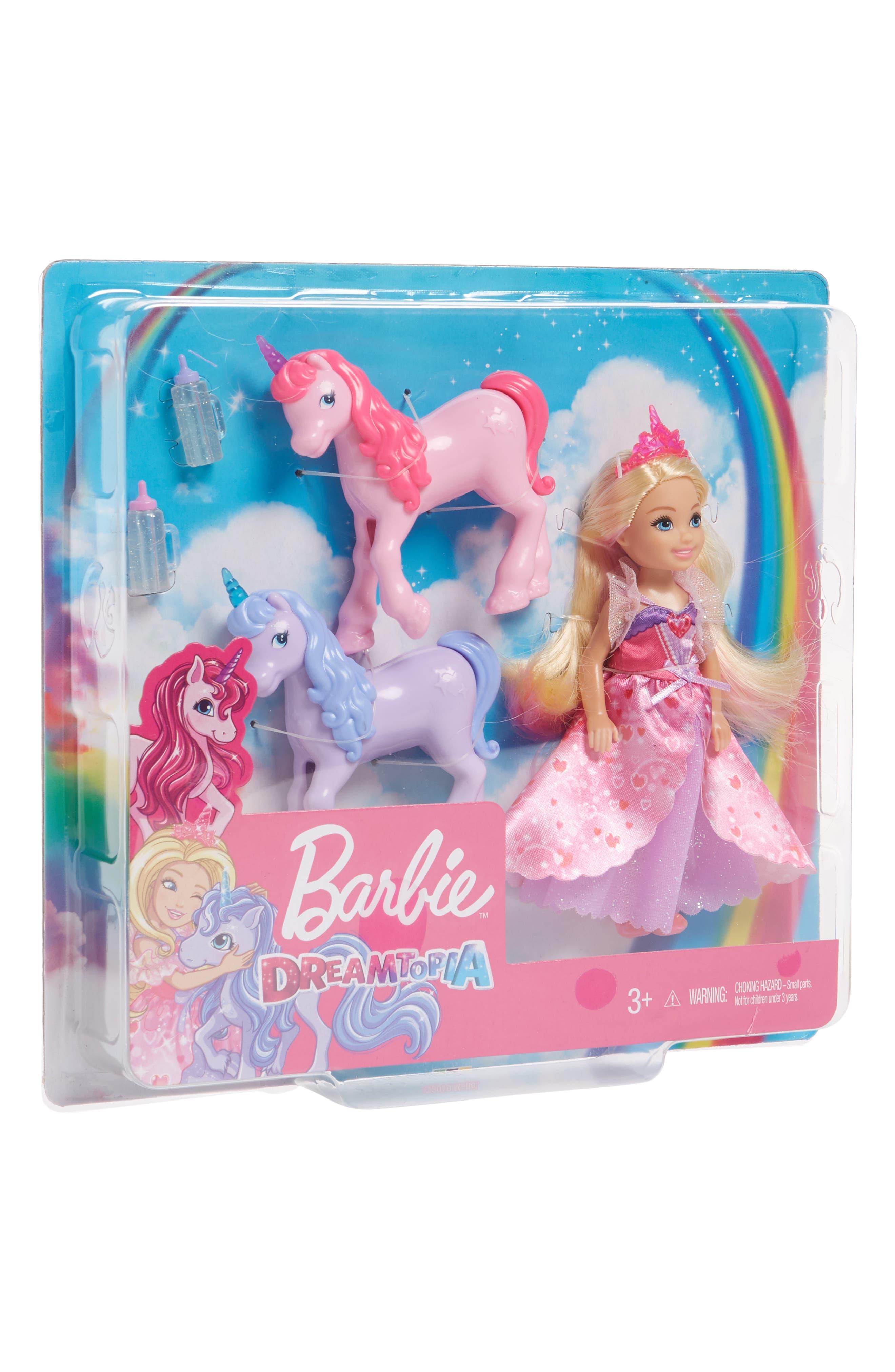 Barbie Dreamtopia Fairytale Dress-UP Doll /& Barbie Travel Chelsea Doll lot of 2.