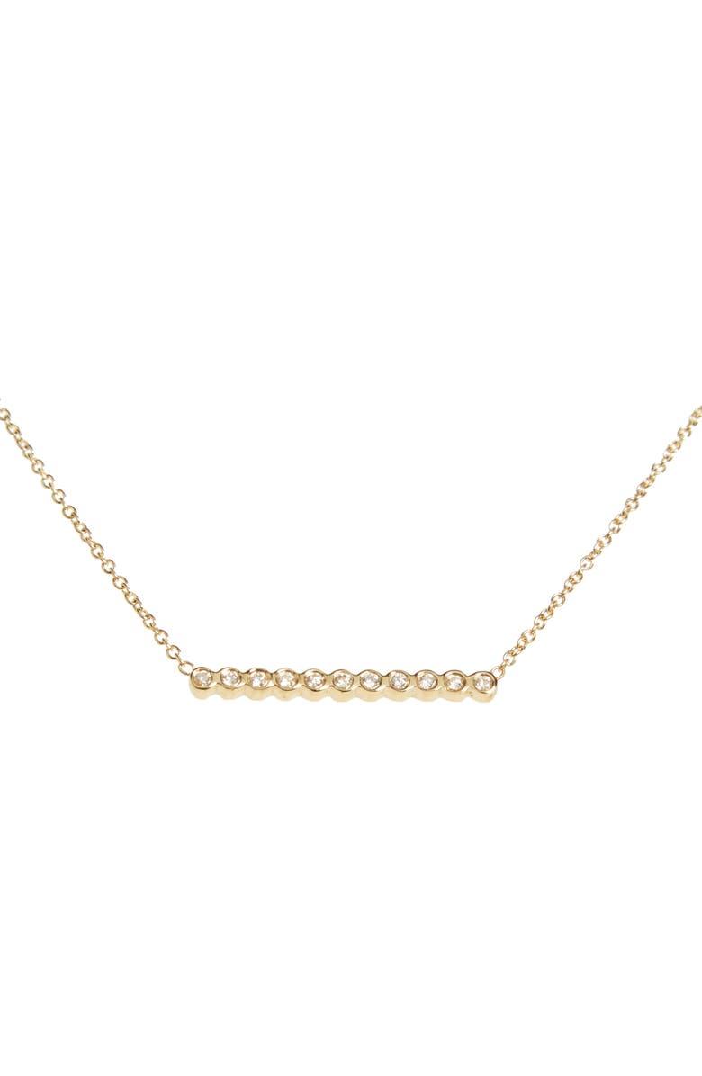 ZOË CHICCO Diamond Bar Pendant Necklace, Main, color, YELLOW GOLD