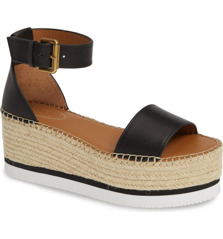 SEE BY CHLOÉ Glyn Platform Espadrille Sandal, Main, color, BLACK