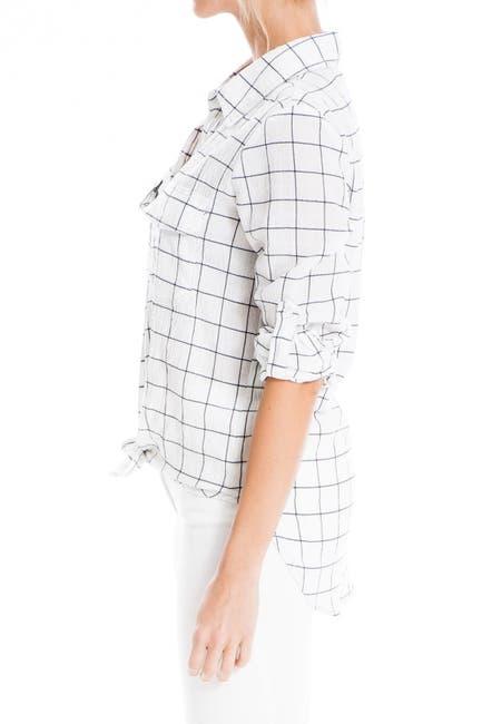 Image of Max Studio Windowpane Print Tie Hem Shirt