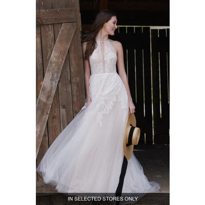 Willowby Harvest Lace & Tulle A-Line Wedding Dress, Size - Ivory