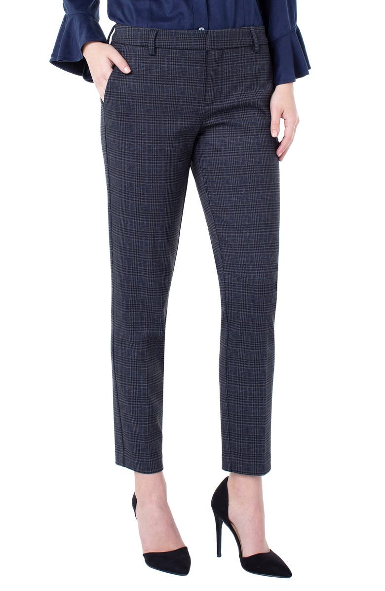 LIVERPOOL Kelsey Plaid Knit Trousers, Main, color, GREY/ BLACK
