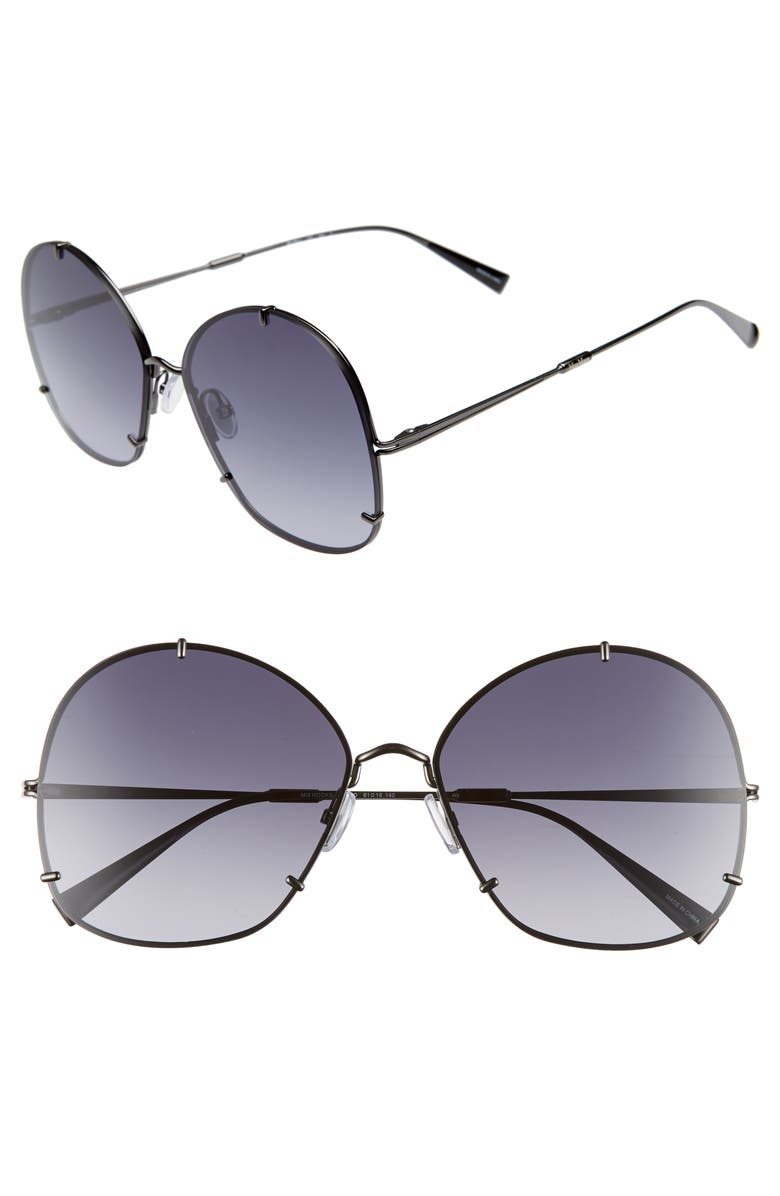 MAX MARA Hooks 61mm Aviator Sunglasses, Main, color, DARK RUTHENIUM
