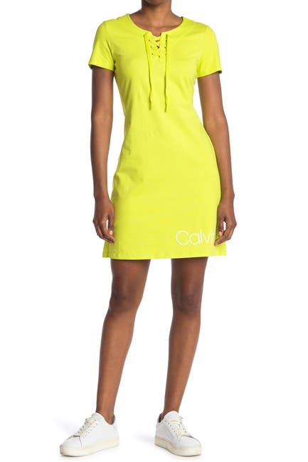 Image of Calvin Klein CK Logo Lace-Up T-Shirt Dress