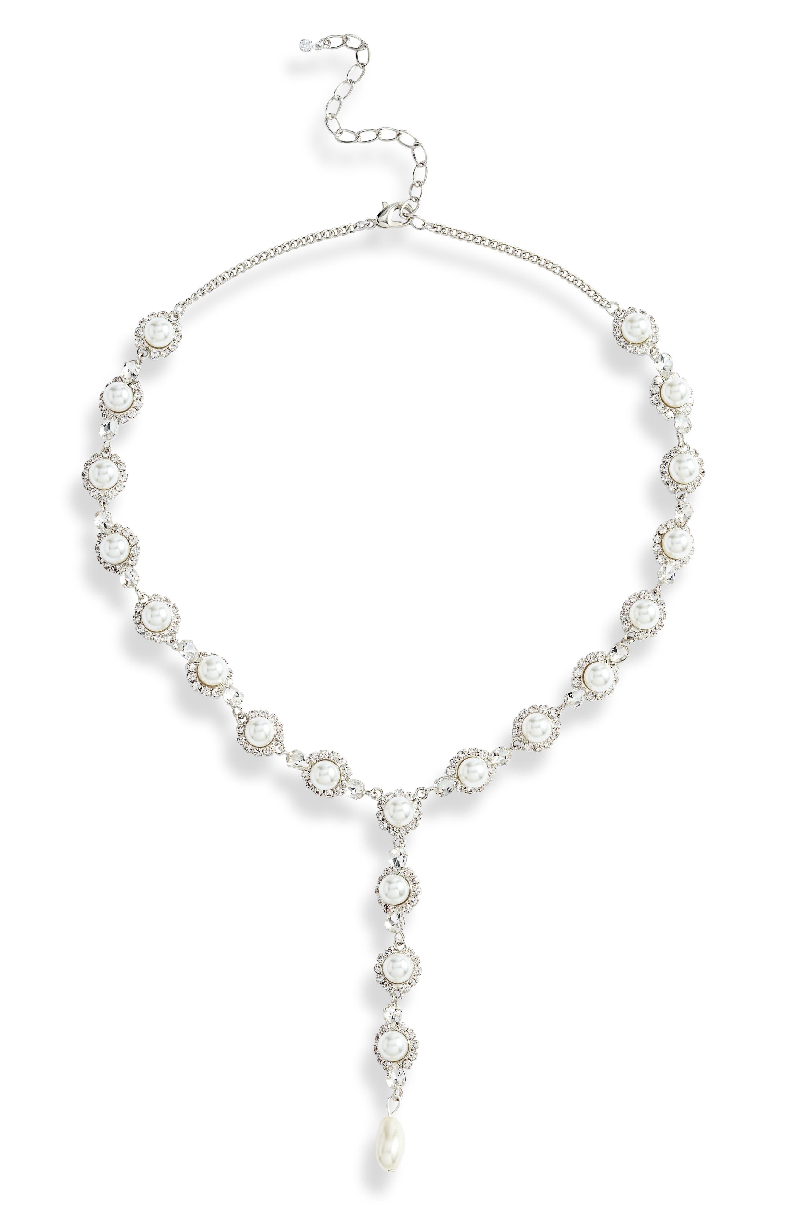 Crystal & Imitation Pearl Y-Necklace
