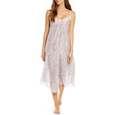 Papinelle Cherry Blossom Crochet Trim Cotton & Silk Nightgown, Purple