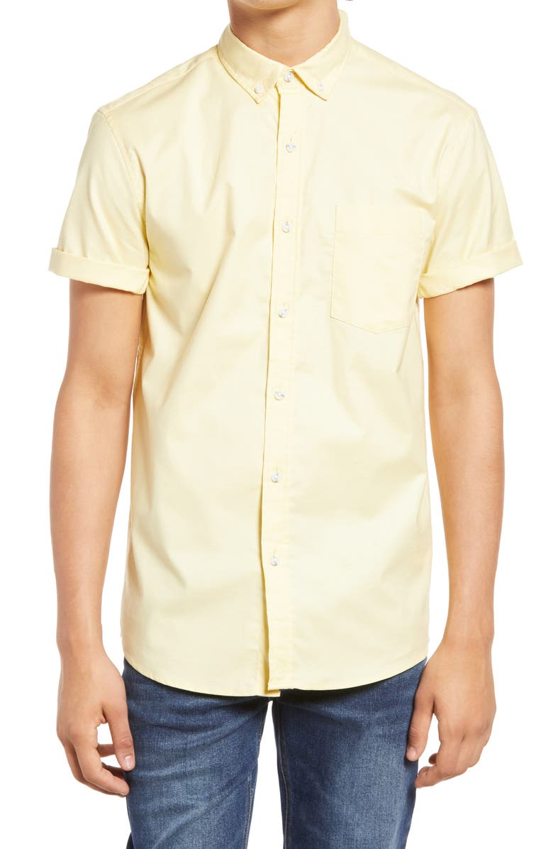 TOPMAN Solid Stretch Short Sleeve Button-Down Shirt, Main, color, YELLOW