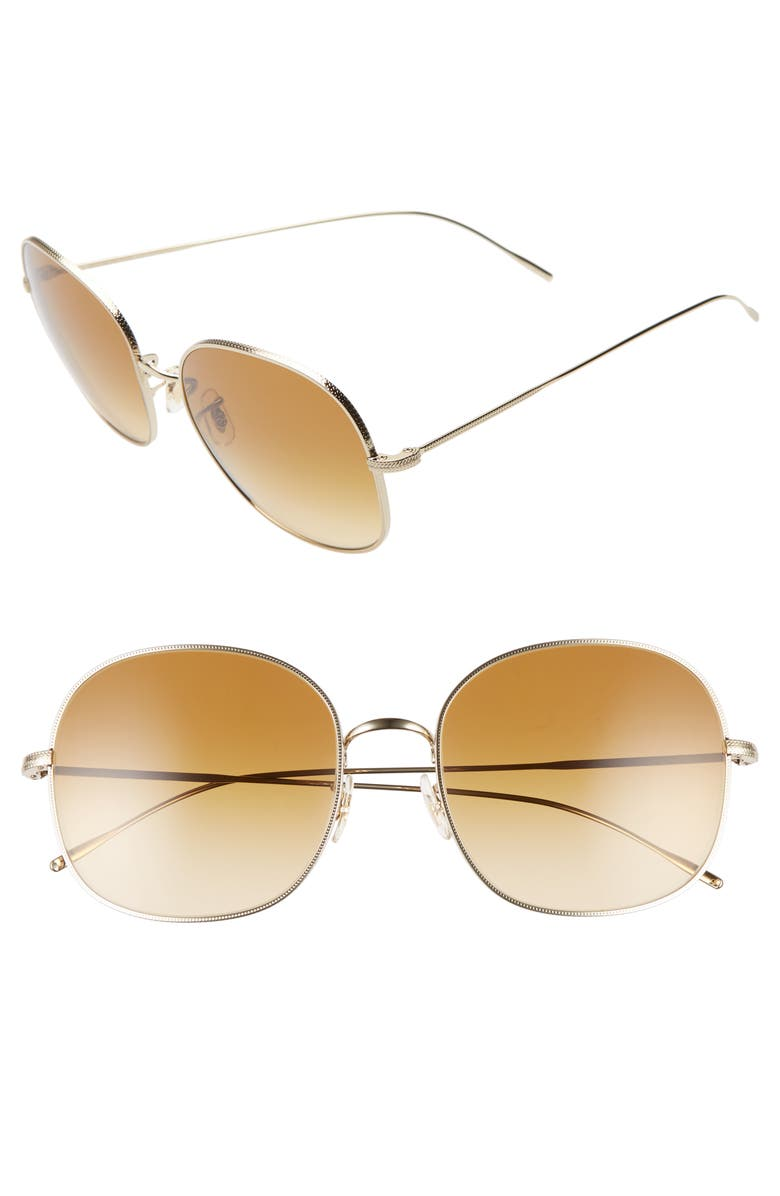OLIVER PEOPLES Mehrie 57mm Gradient Round Sunglasses, Main, color, SOFT GOLD/ AMBER BROWN