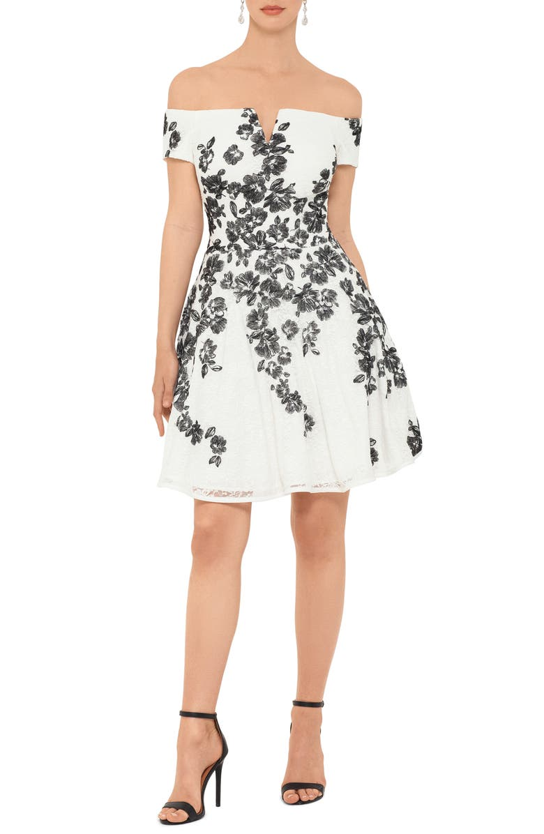 XSCAPE Embroidered Off the Shoulder Fit & Flare Dress, Main, color, IVORY/ BLACK