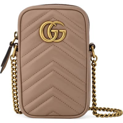 Gucci Mini Quilted Leather Crossbody Bag - Beige