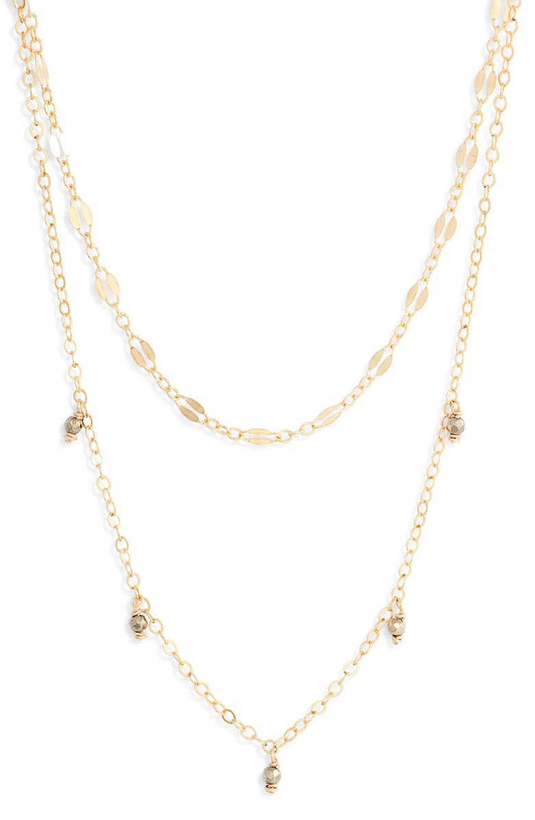 MARIDA Pixie Layered Necklace, Main, color, PYRITE/ GOLD