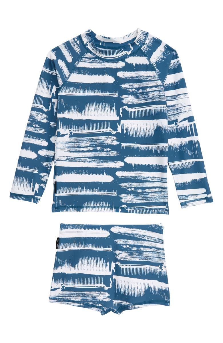 TINY TRIBE Paint Stroke Two-Piece Rashguard Swimsuit, Main, color, 440