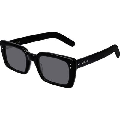 Gucci 52Mm Rectangle Sunglasses - Shiny Black