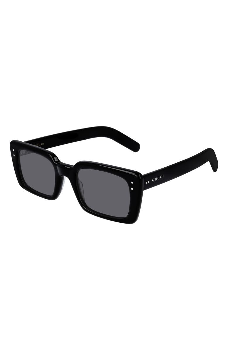 GUCCI 52mm Rectangle Sunglasses, Main, color, SHINY BLACK