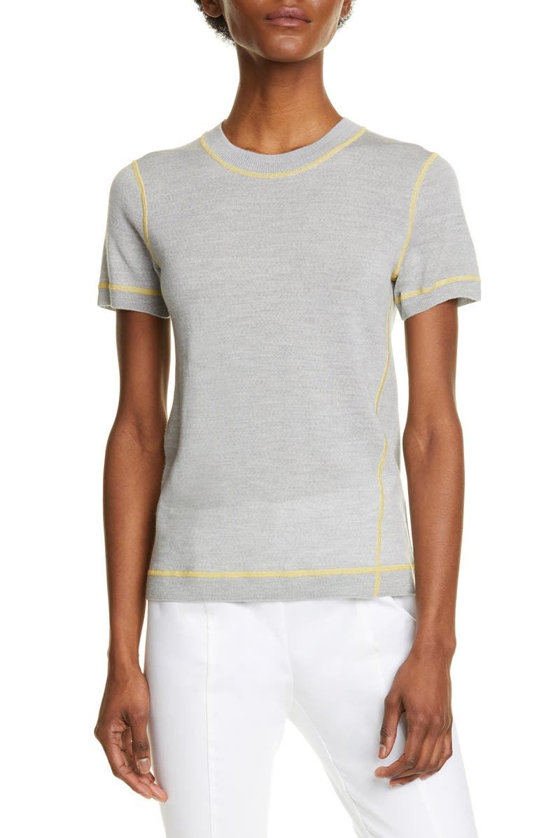 RAG & BONE Shannon Merino Wool Sweater Tee, Main, color, GREY
