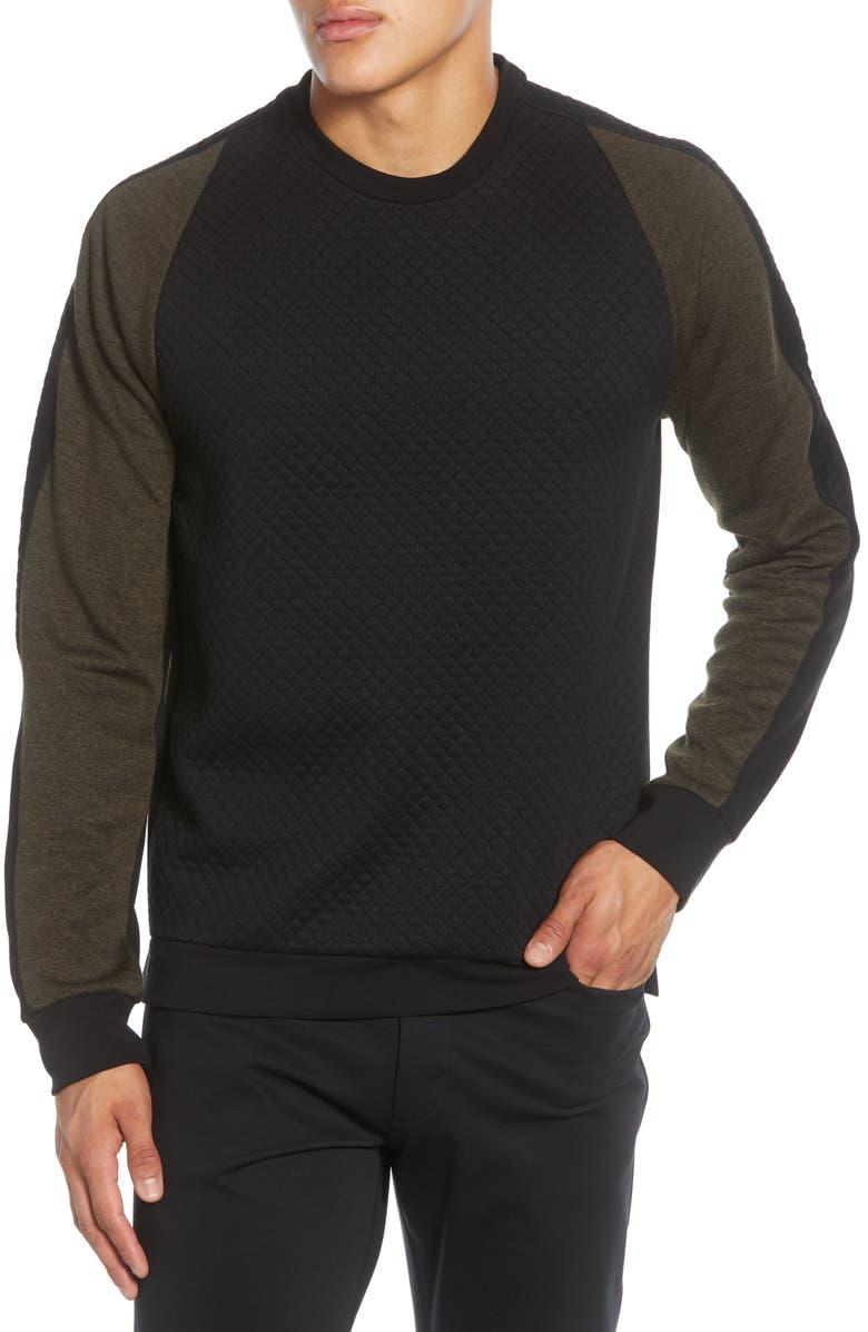 KARL LAGERFELD PARIS Colorblock Quilt Texture Pullover, Main, color, BLACK/ OLIVE