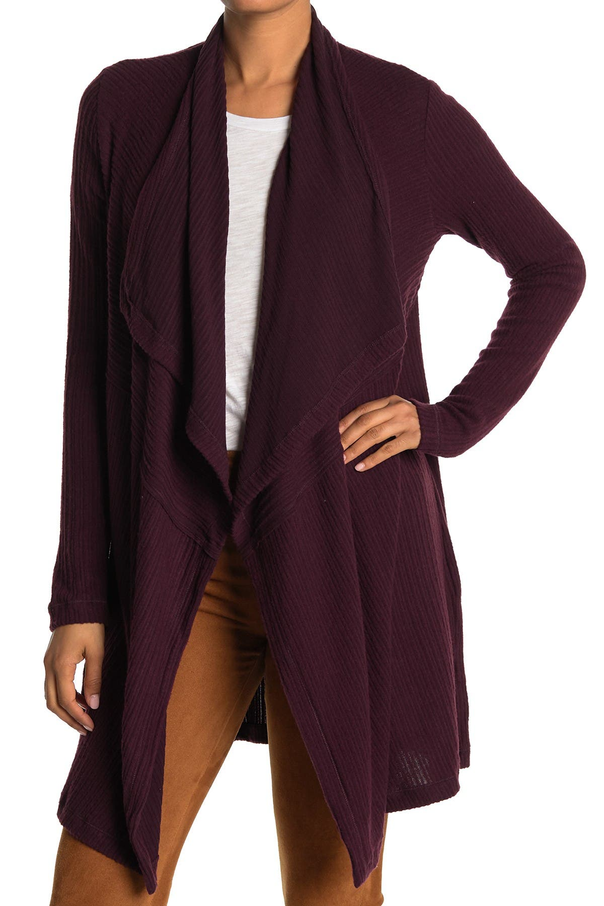 Image of H By Bordeaux Mix Rib Cozy Waterfall Cardigan