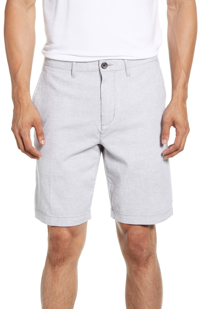 NORDSTROM MEN'S SHOP Linen Blend Chino Shorts, Main, color, GREY WEATHER HOUNDSTOOTH