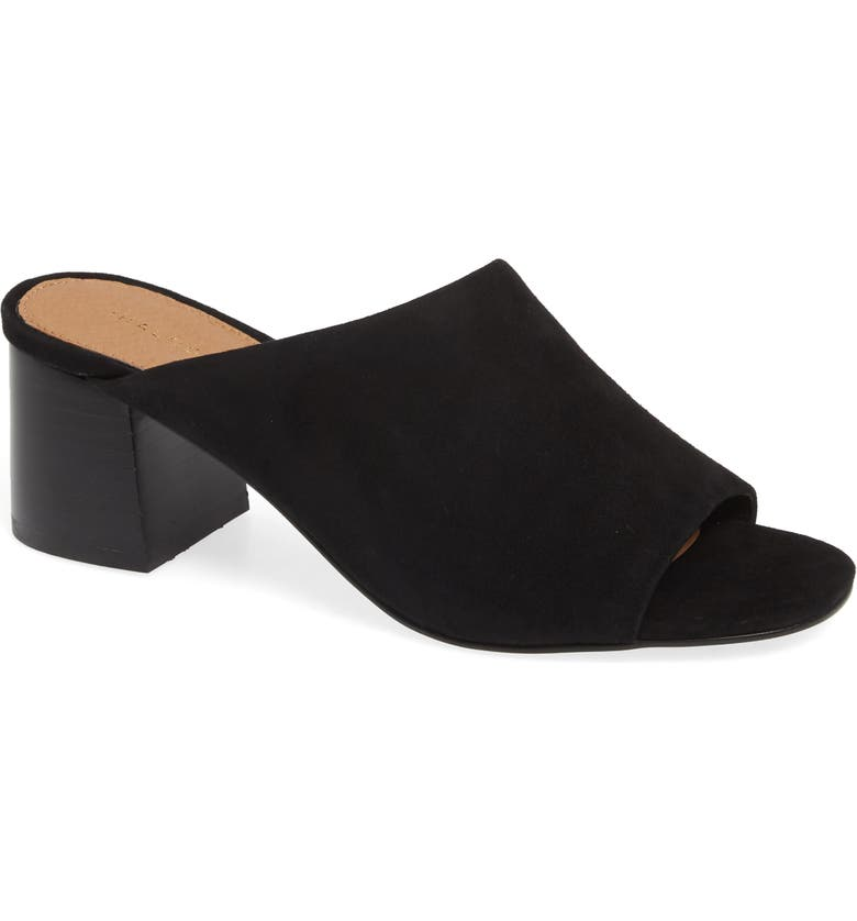 HALOGEN<SUP>®</SUP> Faye Asymmetrical Slide Sandal, Main, color, BLACK SUEDE