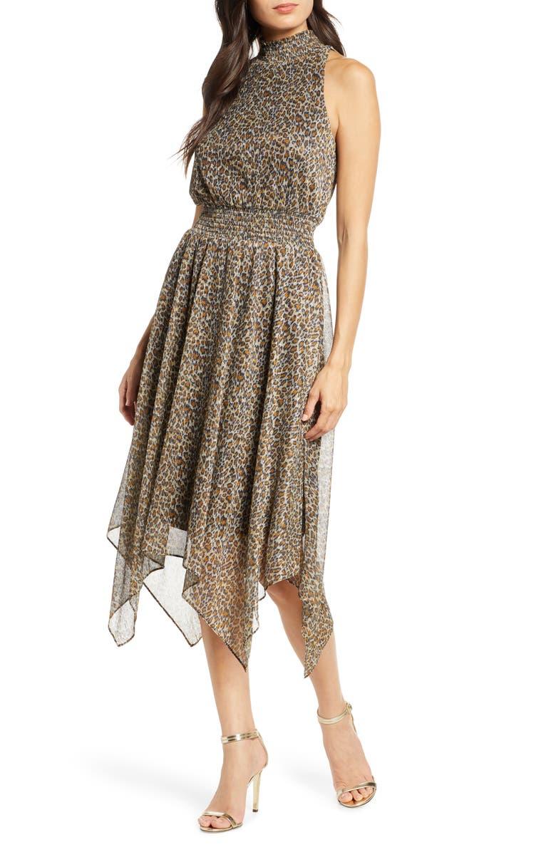 SAM EDELMAN Handkerchief Hem Dress, Main, color, LEOPARD