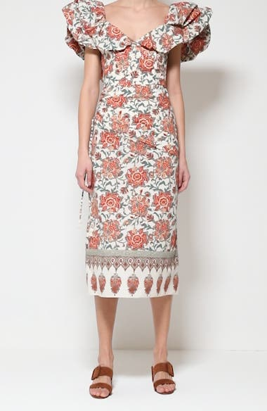 Art de Vivre Floral Cotton Midi Dress, video thumbnail
