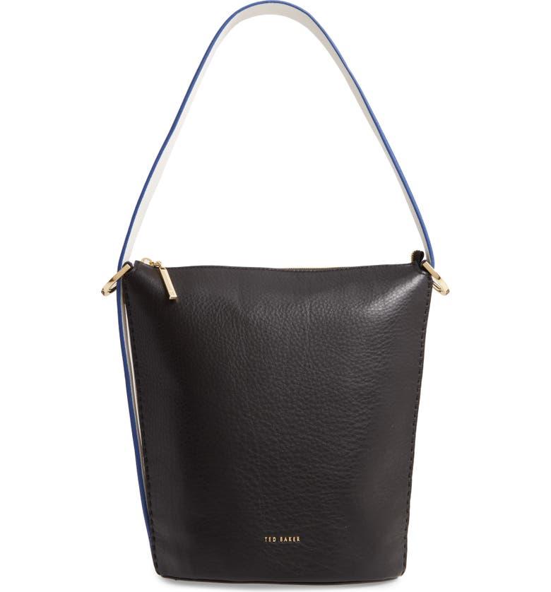TED BAKER LONDON Endora Leather Bucket Bag, Main, color, BLACK