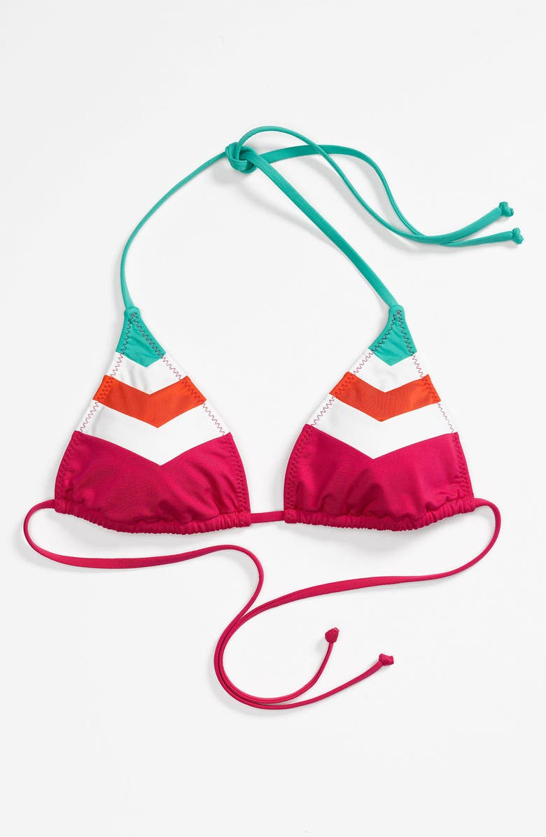 BECCA Chevron Colorblock Triangle Bikini Top, Main, color, 300