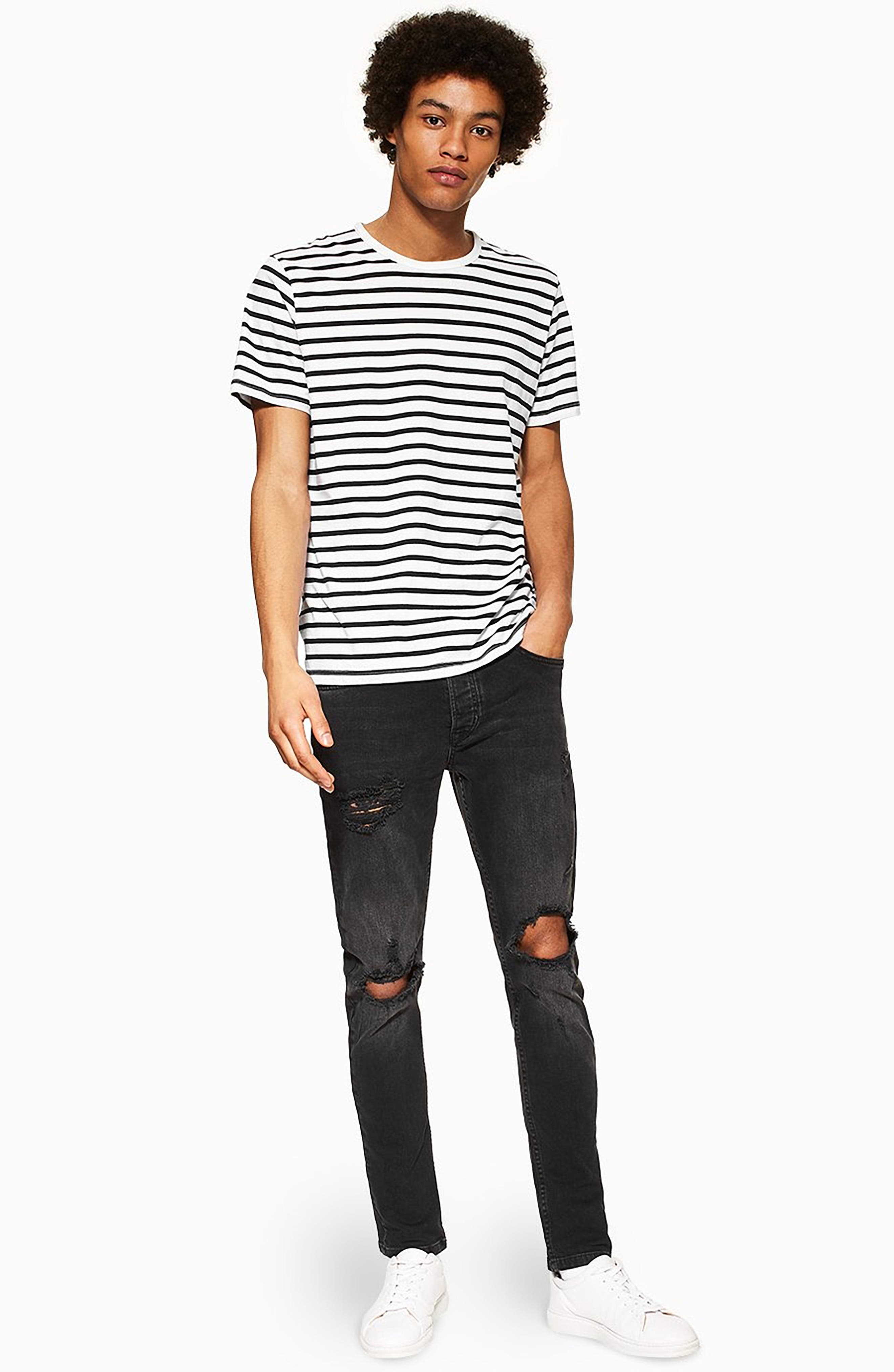 ,                             Ripped Skinny Fit Jeans,                             Alternate thumbnail 6, color,                             WASHED BLACK