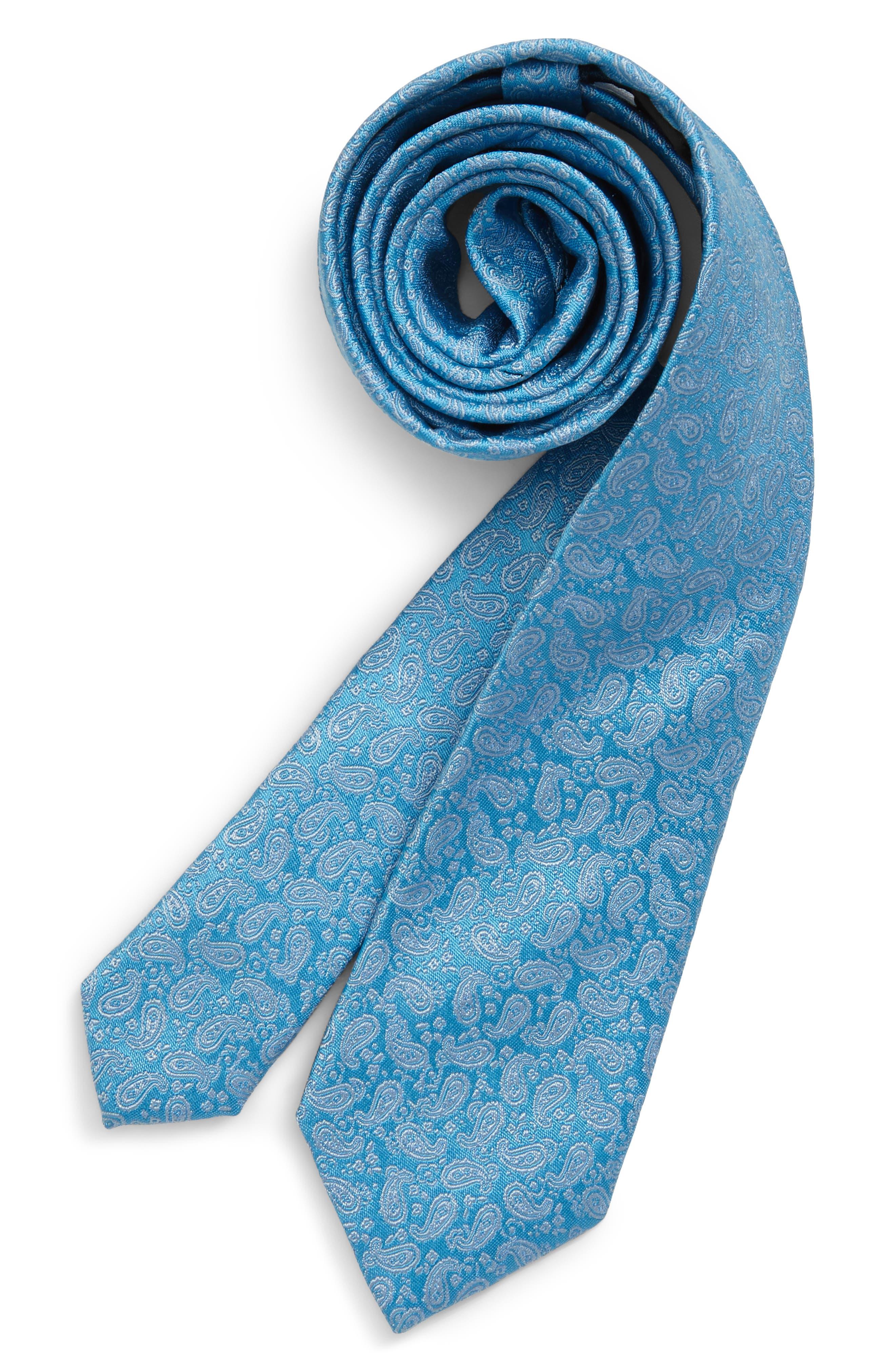 Boys Michael Kors Tonal Pine Paisley Silk Tie Size One Size  Bluegreen