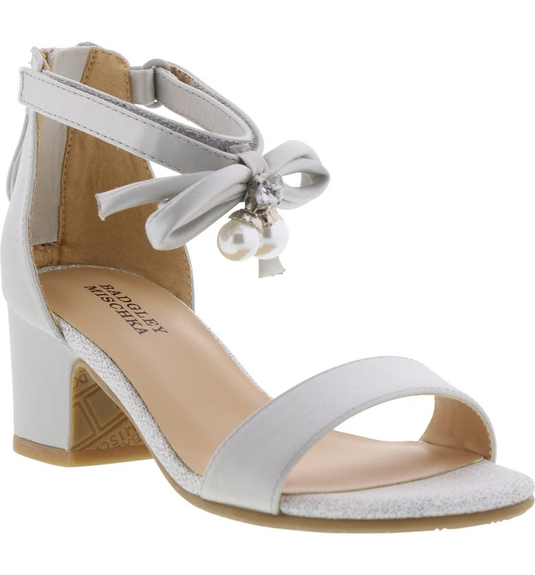 BADGLEY MISCHKA COLLECTION Badgley Mischka Pernia Embellished Bow Sandal, Main, color, SILVER