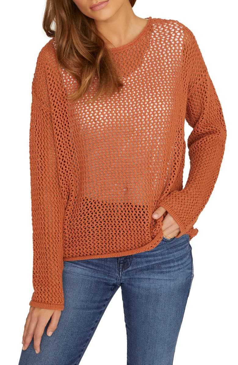 SANCTUARY Soledad Open Stitch Cotton Sweater, Main, color, SIERRA