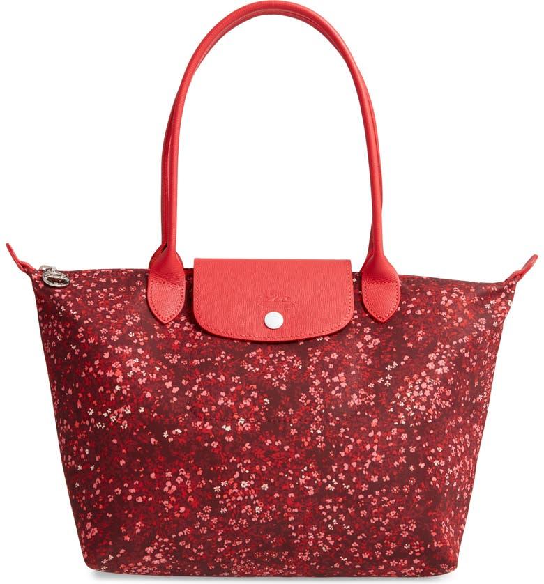 LONGCHAMP Le Pliage Floral Print Shoulder Bag, Main, color, RED