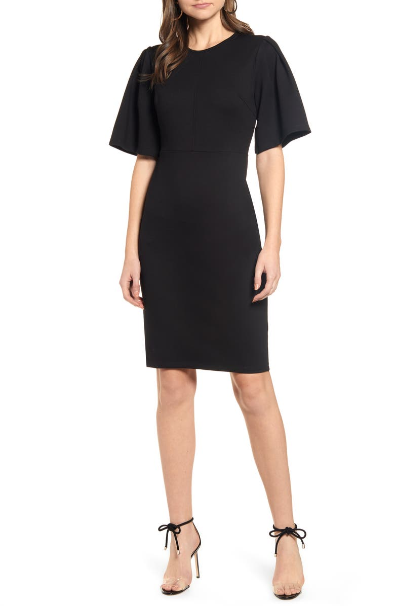 RACHEL PARCELL Flutter Sleeve Ponte Dress, Main, color, 001