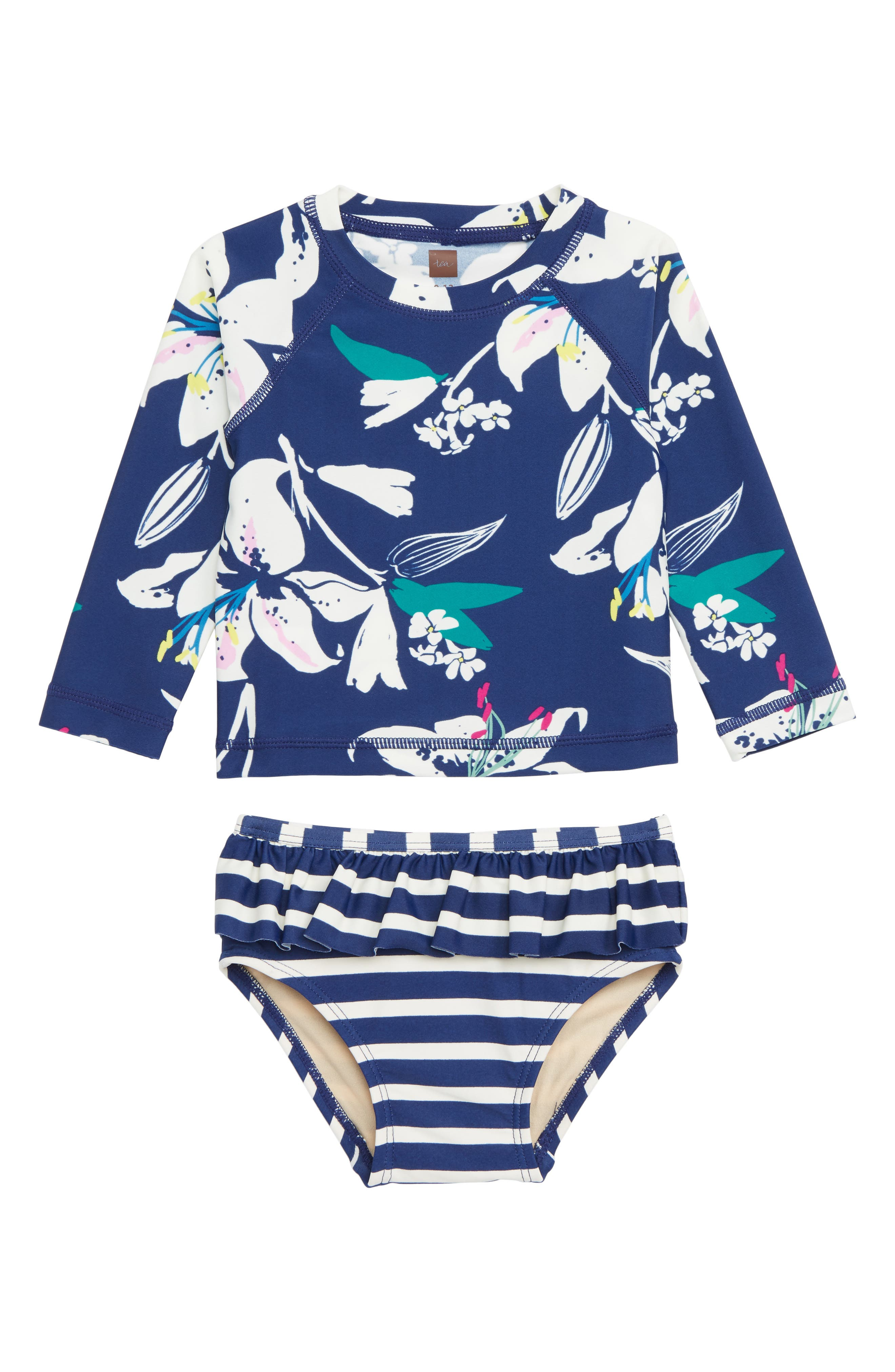 0960f1e7f5 Infant Girl's Tea Collection Mixed Print Two-Piece Rashguard Swimsuit, Blue