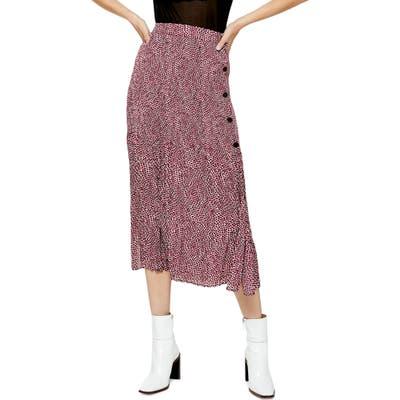Topshop Animal Print Pleated Midi Skirt, US (fits like 6-8) - Pink