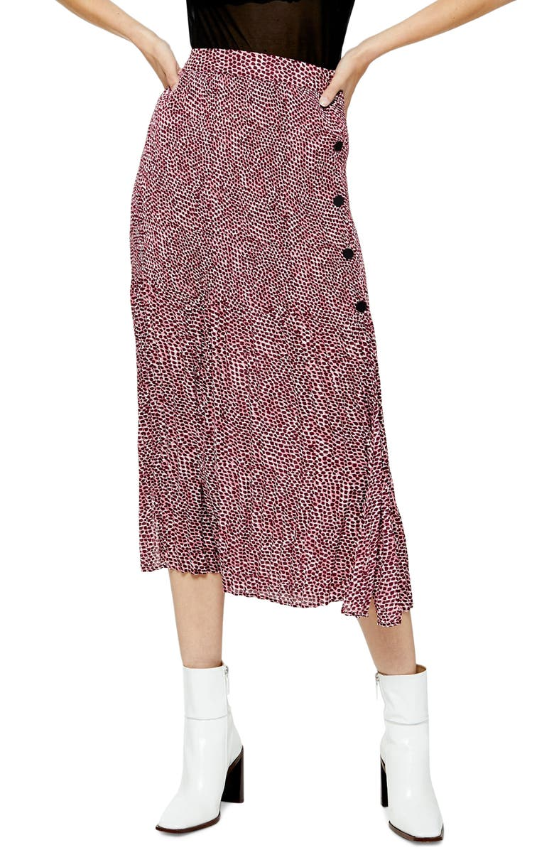 TOPSHOP Animal Print Pleated Midi Skirt, Main, color, 650