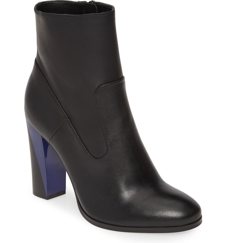 CALVIN KLEIN Canela Colorblock Bootie, Main, color, BLACK LEATHER