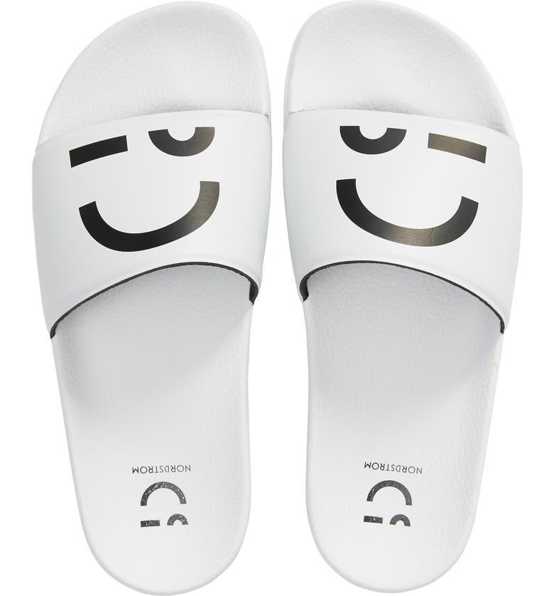 NORDSTROM Shower Slide Sandal, Main, color, WHITE PLACED SMILE