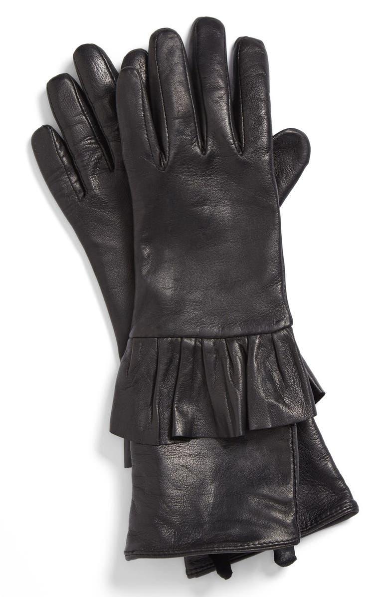 ECHO Peplum Leather Gloves, Main, color, Black